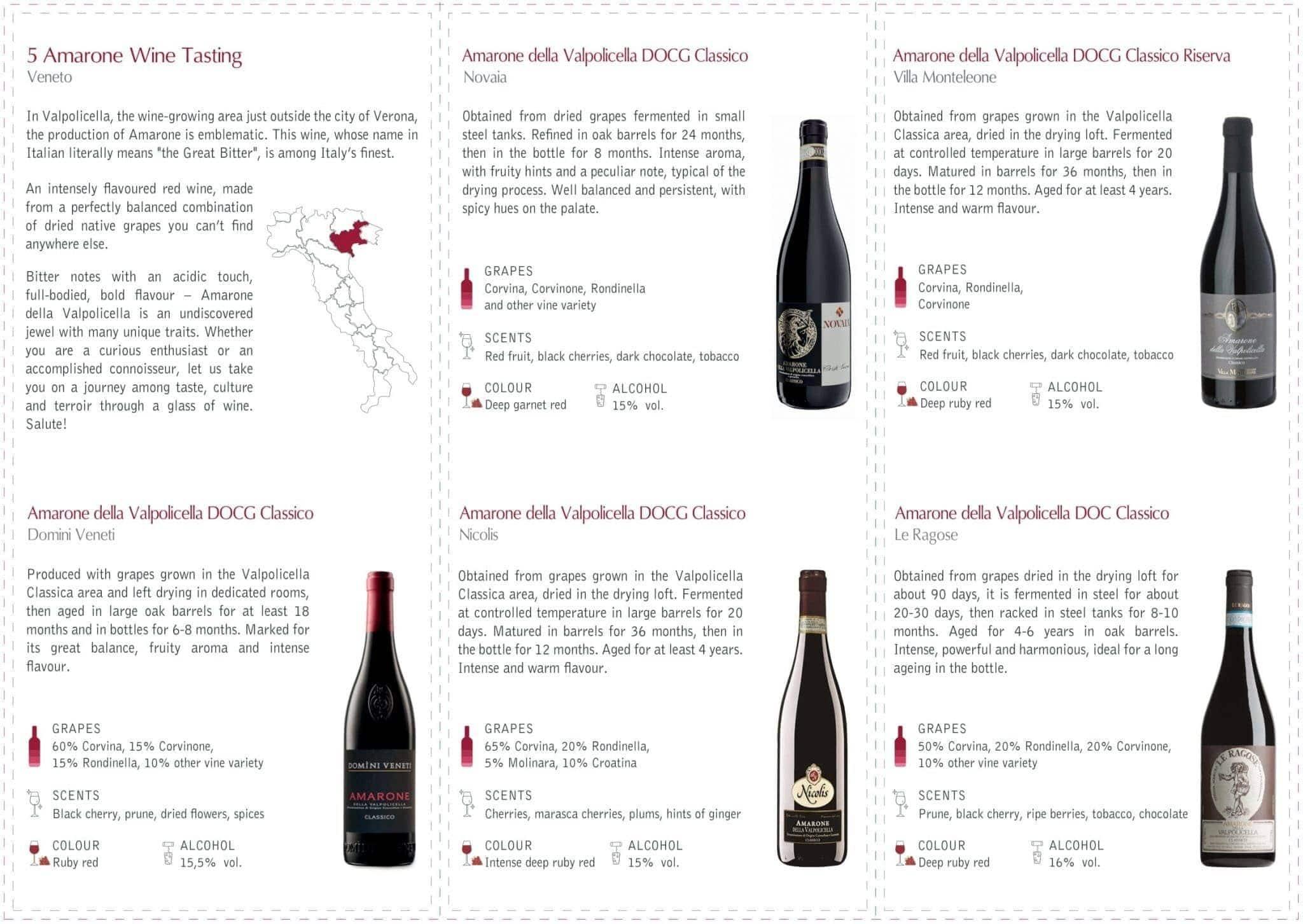Amarone Wine Flight Brochure